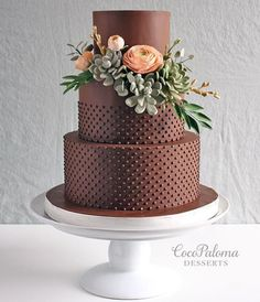 Chocolate brown wedding cake made with Satin Ice Coco Paloma Desserts Essen Chocolate Brown Wedding, Brown Wedding Cakes, Floral Wedding Cakes, Wedding Cakes With Flowers, Beautiful Wedding Cakes, Wedding Cake Designs, Beautiful Cakes, Amazing Cakes, Chocolate Wedding Cakes