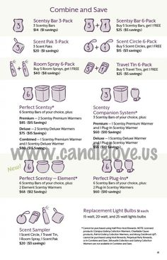 Save money on your favorites with these Scentsy Combine & Save options.