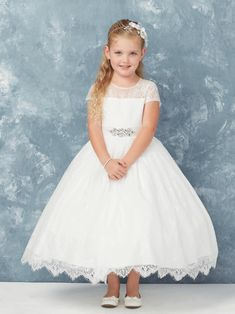 e494baae913 Ankle Length First Communion Dress with Lace Trim First Communion Dresses