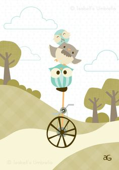 Owlstanding Achievement Art Print : Owls on Unicycle - 5x7. $18.00, via Etsy.