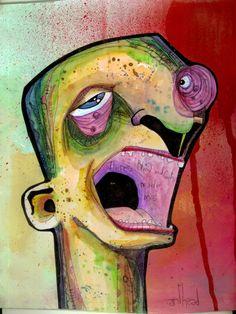 """blood&guts"" anthead 9X12 recycled cardboard outsider graffiti folk art lowbrow #OutsiderArt"
