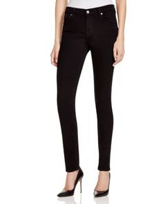 7 For All Mankind The Skinny Jeans in Washed Overdye Black  | Cotton/polyester/spandex | Machine wash | Imported | Fits true to size, order your normal size | Zip fly with button closure, five-pocket