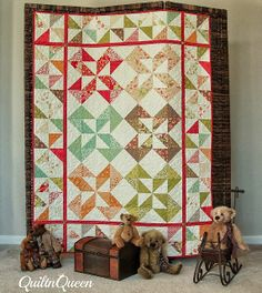 Honeysweet Pinwheel Quilt, made with charm packs - free pattern from Moda Bake Shop