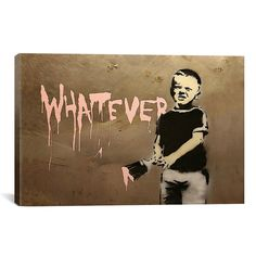 iART Banksy Whatever Boy Print Wall Art