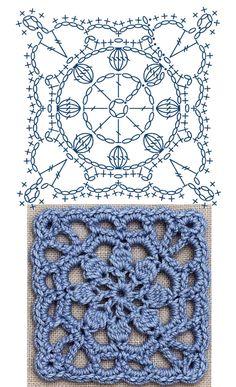 No.30 Dahlia Square Lace Crochet Motifs / 다알리아 사각 모티브도안