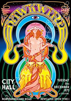 Cod. 718 HAWKWIND City Hall Newcastle (Uk) 11 December 1973 Psychedelic Typography, Psychedelic Rock, Festival Posters, Concert Posters, Pop Posters, Music Posters, Rock Band Posters, Rock Album Covers, Academy Of Music