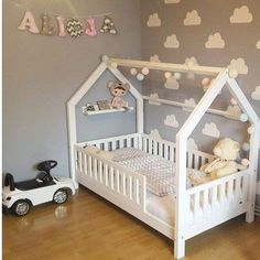 Hausbett mit Giebel seitlich, Flachsprossen Nature Kid house bed made of pine with a sweet railing – Wallenfels Onlineshop Baby Girl Room Decor, Baby Room Design, Girl Bedroom Designs, Baby Bedroom, Kids Bedroom, House Beds For Kids, Toddler House Bed, Toddler Rooms, Kid Beds