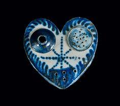 Heart-Shaped Stoneware Inkstand, probably Philadelphia or Baltimore