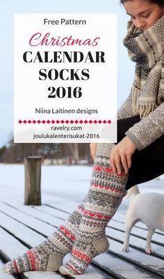 "Christmas calendar socks ""joulukalenterisukat"" knitted in 4 colors. Free pattern by Niina Laitinen design."