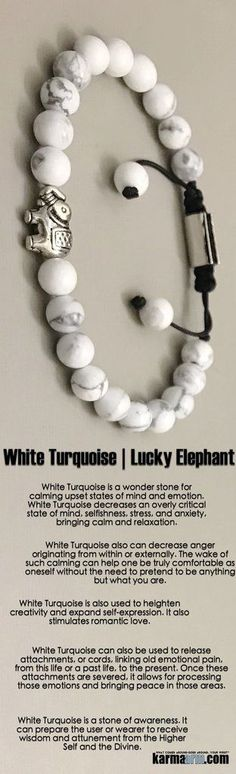 #BEADED #Yoga #BRACELETS ♛ #White #Turquoise is a stone of awareness. It can prepare the wearer to receive #wisdom. It also stimulates #romantic #love.    #Mens #Jewelry #Eckhart #Tolle #Crystals #Energy #gifts #Handmade #Healing #Kundalini #Law #Attraction #LOA #Love #Mala #Meditation #prayer #Reiki #mindfulness #wisdom #Fashion #birthday #Spiritual #Buddhist #Tony #Robbins #Gifts #Womens