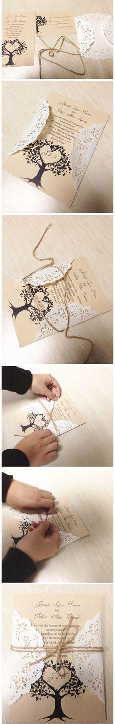 Lace and Burlap Rustic DIY Wedding Invitations