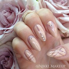 Beautiful nude pink roses from my love inspired some nude nail art with rose hued crys...