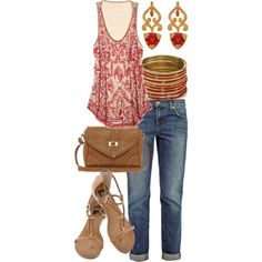 A fashion look from April 2013 featuring graphic shirts, boyfriend jeans and flat shoes. Browse and shop related looks.