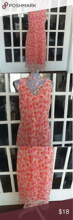 Dressbarn Cherries Long Slip Over Style Dress EUC Really cute dress in excellent condition. The shell is sheer with a cherry pattern design and the liner underneath is a solid pink color. This dress is a slip-on Style. Measurements are in the photo gallery. The material is a polyester blend. Thank you for looking Dress Barn Dresses Maxi