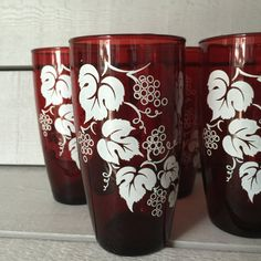 Ruby Red Glass Tumblers Anchor Hocking Set by VivaTerraVintage