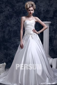 Asombroso #Vestido de #Novia con Escote Corazón #Cola #Capilla #Corte A/#Corte #Princesa - Persun.es