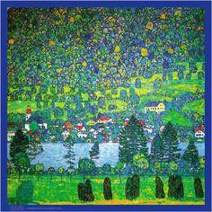 Unterach Sulattersee, huile de Gustav Klimt (1862-1918, Austria)