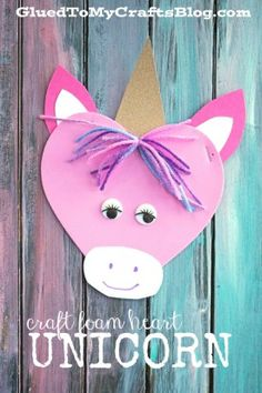 Craft Foam Heart Unicorn - Kid Craft - Glued To My Crafts