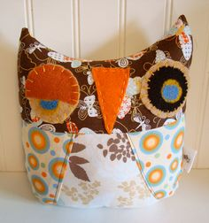 Stuffed Owl Pillow HandMade Fabric and Felt Owl by ScruffyKat, $16.00