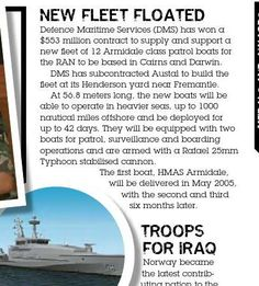 New fleet for Royal Australian Navy. The Armidale-class boat is ordered. From CONTACT issue 1, March 2004
