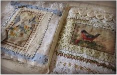Vintage postcard quilted fabric book by Beth Leintz.