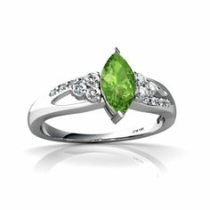 14K White Gold Marquise Genuine Peridot Antique Style Ring