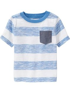Striped Chambray-Pocket Tees for Baby Product Image