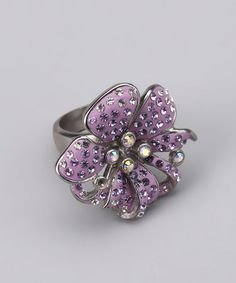 Take a look at this Purple Sparkle Flower Ring  by Best Silver on #zulily today!