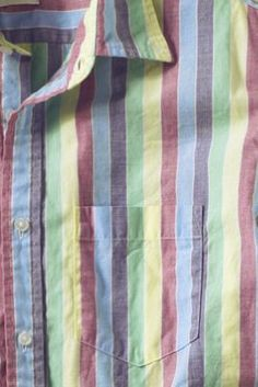 Men's Short Sleeve Rainbow Striped Poplin Shirt from Lands' End Canvas