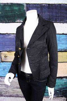Diesel Rising Sun Black Button Front Shiny Blazer Style Jacket MEDIUM M #Diesel #BasicJacket #Casual