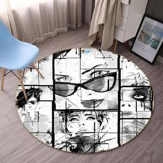 Modern Insight 82 Non Lip Round Rug Room Mat Photo Carpet Bathroom Office Home Quality Living