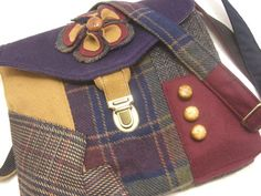 Recycled purse,  fabric flower, green, purple, berry plaid wool,  mens suit coat via Etsy