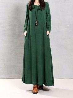 Women Vintage Cotton Tunic Baggy Long Sleeve Maxi Dress www.newchic.com