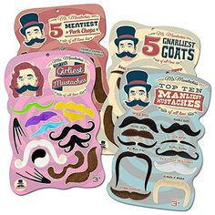 Mr. Moustachio's Facial Hair Four Pack: Top Ten Manliest, Girliest, Gnarliest, and Meatiest Facial Hair, Beard, and Mustache Assortment! Mr. Moustachio http://smile.amazon.com/dp/B00KWDYPXS/ref=cm_sw_r_pi_dp_I08Dvb0WH2X0A