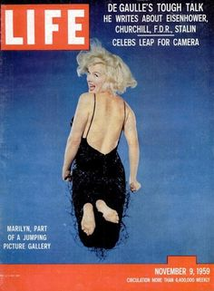 From Musée de l'Elysée, Philippe Halsman, Cover of the magazine Life with a portrait of Marilyn Monroe jumping by Philippe Halsman, November 9 Marilyn Monroe Life, Marilyn Monroe Photos, Life Magazine, Movie Magazine, Jumping Pictures, Philippe Halsman, Life Cover, Portraits, Norma Jeane