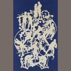 Hans Christian Andersen (Danish, 1805-1875)  Untitled, large silhouette depicting soldier sequence, [1865].  Cut-out paper.  34.5 x 22cm (13 9/16 x 8 11/16in)