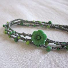 triple wrap crocheted ankle bracelet