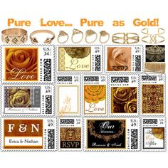 """""""Pure Love... Pure as Gold!"""" by jaclinartfan61 on Polyvore #gold #brown #wedding #stamps #marriage #monogram #love #romance #rsvp"""