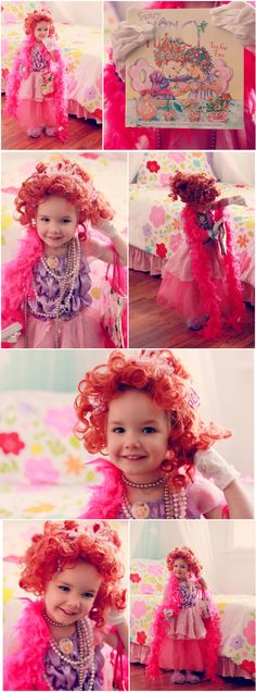 """This was probably Georgia's favorite costume so far. She stayed in it long  after I took the photos (even the wig) and has requested it many times  since.  We love Fancy Nancy books because they teach """"fancy"""" ways to say different  words and watching Georgia try and pronounce them is gold.  I didn't spend any money on this costume!   _ _ _ _ _ _ _ __ _ _ _ __ _ _ _ _ __  Pinkalicious Cat in the Hat If You Give a Mouse a Cookie Fern from Charlotte's Web The Paper Bag Princess Olivia…"""