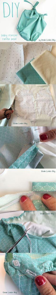 DIY Baby Romper - Free Pattern - Step by step Tutorial on the blog. Sewing tutorial, baby dress sewing tutorial, Tutorial paso por paso ranita beb, pelele beb, vestido beb. Patrn gratis! English + espaol. http://etralalondon.blogspot.com.es/2016/04/d