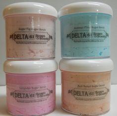 Delta Soaps & Scents Exfoliating  Luxury Sugar Scrubs.  www.DeltaSoapsAndScents.com