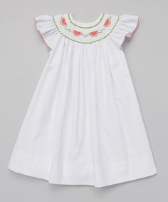 Another great find on #zulily! White Watermelons Bishop Dress - Infant, Toddler & Girls by Petite Palace #zulilyfinds