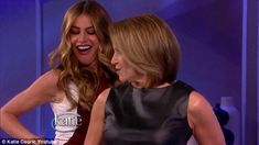 http://news-all-the-time.com/2014/04/30/sofia-vergara-showcases-some-sexy-hip-wiggling-in-tight-dress-as-shes-taught-new-dance-by-tv-host-katie-couric/ - Sofia Vergara showcases some sexy hip wiggling in tight dress as she's taught new dance by TV host Katie Couric  - By Fay Strang  Latina women are often considered to have some of the best natural rhythm in the world. And Sofia Vergara showed she was certainly blessed with it when she appeared on the Katie Couric show this w