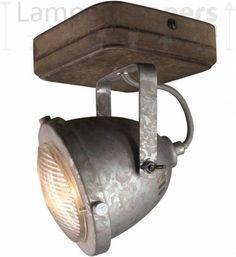 LT-Luce Spot Woody Vintage Old Grey 1 Lichts Light, Galvanized, Ceiling, Bulb, Dark Wood, Wood Glass, Track Lighting, Galvanized Steel, Ceiling Lights