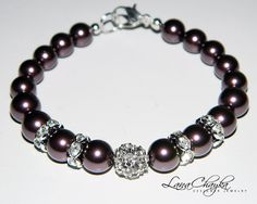 Flower Girl Gift Bracelet Swarovski Burgundy Pearls Silver Spacer Beads Clear Crystals Wedding FREE US Shipping. $18.00, via Etsy.