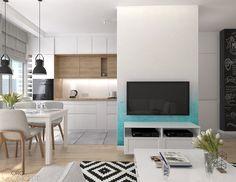 Salon z aneksem kuchennym w mieszkaniu na Bemowie, 28 m2 – Pracowania projektowania wnętrz