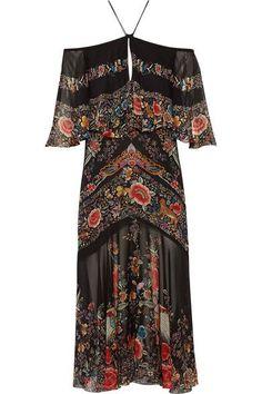 Roberto Cavalli - Off-the-shoulder Ruffled Printed Silk-georgette Midi Dress - Black - IT