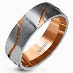Simon G. 14K White & Rose Gold Two-Tone Carved Satin Finished 7 MM Wedding Band