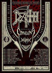 After their successful North American tour and a celebrated performance at Neurotic Deathfest, DEATH: DTA will tour Europe for the first time. The DEATH line up will consist of Sean Reinert (Cynic) – drums, Paul Masvidal (Cynic) – guitar, Steve DiGiorgio (Autopsy, Testament, Iced Earth) – bass and Max Phelps (Cynic) – guitar