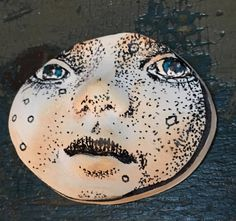 clay face jewelry craft supplies  handmade cabochon   black and white  polymer clay  findings    girl  freckles